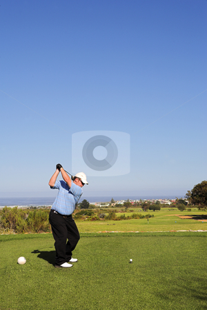 Golf 01 stock photo, Man playing golf. by Sean Nel