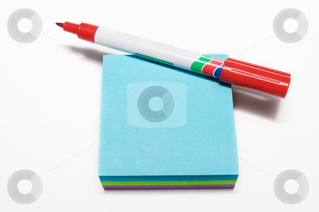 Notepad #3 stock photo, Red fiber tipped pen and sticky pad by Sean Nel