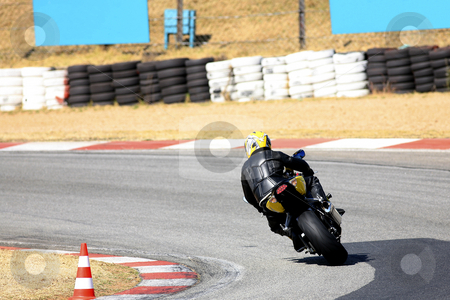 Superbike #83 stock photo, High speed Superbike on the circuit  by Sean Nel