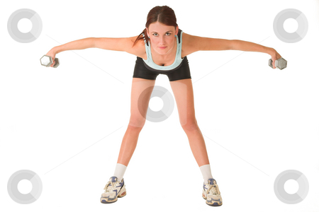 Gym #145 stock photo, Woman standing, bending forward holding gym weights in both hands. Looking straight at camera. by Sean Nel