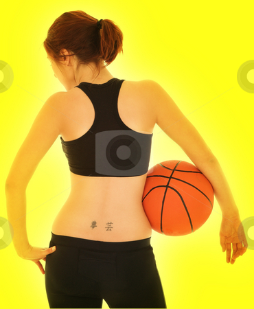 Basketball Girl #6 stock photo, Sexy Girl with Basketball and Black top on Yellow - Digital Artwork by Sean Nel