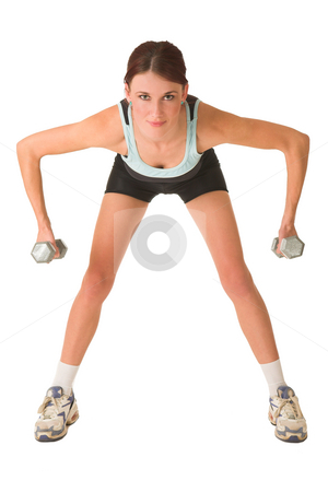 Gym #153 stock photo, Woman in gym wear bending forward looking at camera, holding weights. by Sean Nel