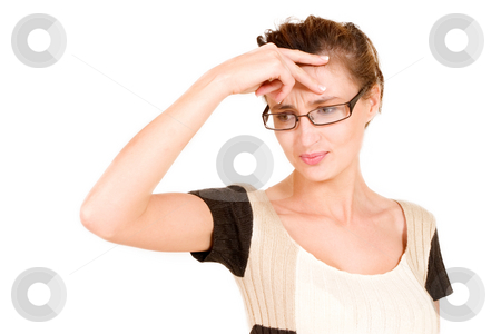 Business Lady #112 stock photo, Business woman with glasses looking confused while holding her head by Sean Nel
