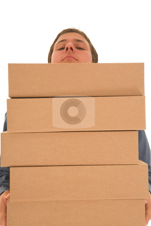 Businessman#80 stock photo, Man carrying boxes. by Sean Nel