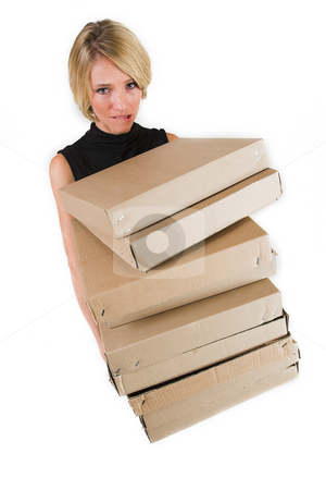 Business Lady #21 stock photo, Blond Business woman carrying boxes by Sean Nel