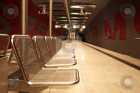 Munich #34 stock photo, Chairs in a train station. by Sean Nel