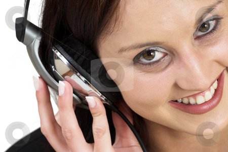 Music #10 stock photo, Woman with earphones by Sean Nel