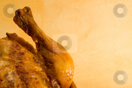 Chicken #1 stock photo, Prepared  whole chicken on a plate - copy space by Sean Nel