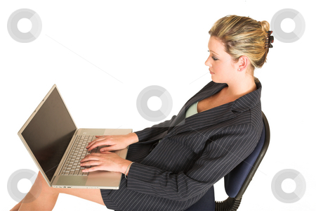 Laura Hopton #5 stock photo, Business woman on office chair with Laptop on her lap by Sean Nel