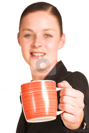 Business Woman #18 stock photo, Business woman dressed in a black shirt , holding an orange coffee mug.  Shallow DOF - mug in focus, face out of focus by Sean Nel