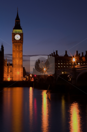 Big Ben #1 stock photo, Big Ben on the Thames river - Night by Sean Nel