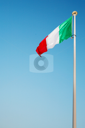 Cannes #57 stock photo, Italian flag blowing in the wind by Sean Nel