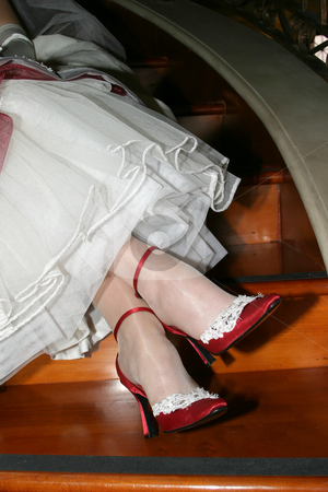 Red Shoes stock photo, Red, Silk covered, bridal shoes by Sean Nel