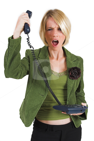 Businesswoman #42 stock photo, Upset business woman in green suite with phone by Sean Nel