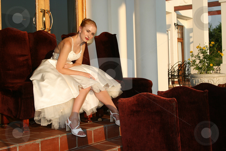 Bride in waiting stock photo, Fashion shot of bridal wear by Sean Nel