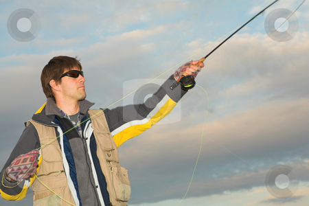 Flyfishing #7 stock photo, A fly fisherman casting a line in Dullstroom, South Africa by Sean Nel