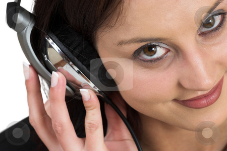 Luzaan Roodt #13 stock photo, Woman in formal black suit, with headset on head - close up, shallow DOF by Sean Nel