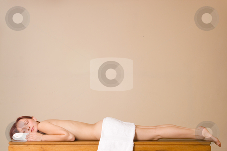 Trudy Lee Markotter #4 stock photo, Woman relaxing at a salon - eyes closed, copy space by Sean Nel