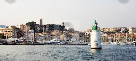 Cannes #48 stock photo, The harbor (Port Le Vieux) in Cannes, France, with the Musee de la Castre and  La Tour du Suquet in the background. by Sean Nel