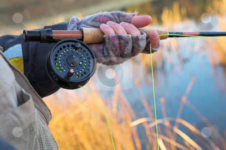 Flyfishing #20 stock photo, A fly fishermans spinner - Focus on spinner and line, Shallow DOF by Sean Nel