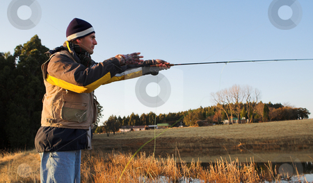 Flyfishing #18 stock photo, A fly fisherman casting a line in Dullstroom, South Africa by Sean Nel