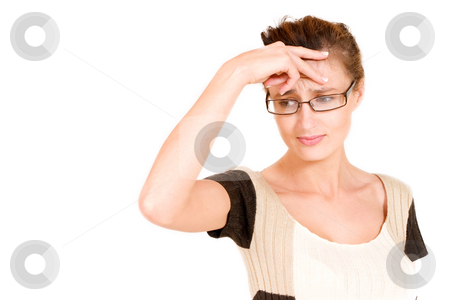 Business Lady #110 stock photo, Business woman with glasses looking worried holing her head by Sean Nel