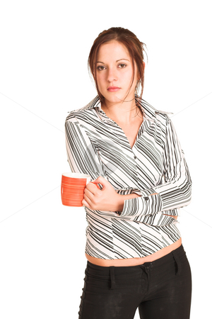 Business Woman #350 stock photo, Business woman with brown hair, dressed in a white shirt with black stripes. Holding  a coffee mug. by Sean Nel