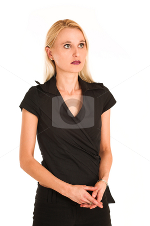 Business Woman #362 stock photo, Blond business woman, dressed in a black clothes. by Sean Nel