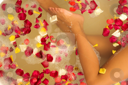 Woman #59 stock photo, Legs of a woman in a bath. by Sean Nel