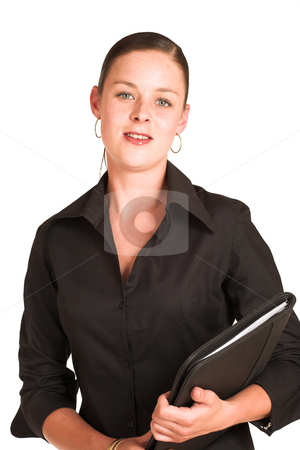 Charmaine Shoultz #1 stock photo, Business woman dressed in a black shirt.  Holding a file by Sean Nel