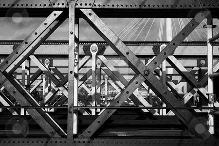 Bridge #2 stock photo, The Charring cross railway bridge girders - Black and White by Sean Nel