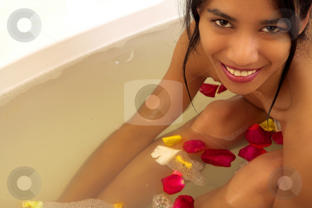 Woman #52 stock photo, Nude woman in a bath.  Copy space. by Sean Nel