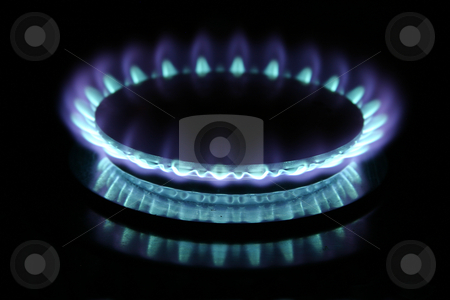 Gas Burner stock photo, Blue gas flame on stove by Sean Nel