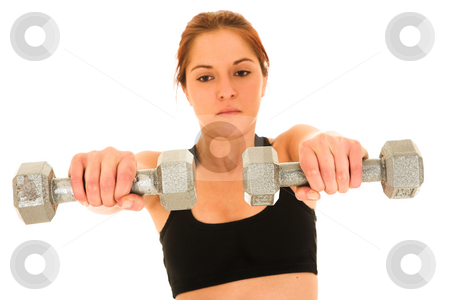 Sexy brunette fitness woman stock photo, Sexy young adult Caucasian woman in a black training wear with small weights. NOT ISOLATED by Sean Nel