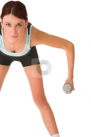 Gym #99 stock photo, Woman using weights. by Sean Nel