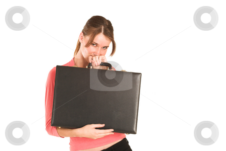 Businesswoman #422 stock photo, Brunette business lady in pink top.  Holding a leather suitcase - copy space by Sean Nel