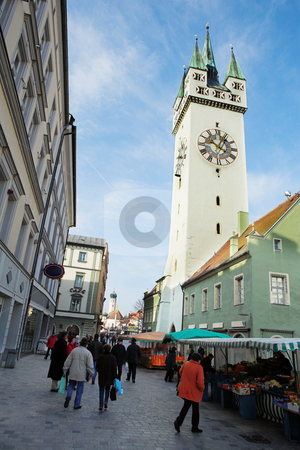 Straubing #2 stock photo, The market in front of the Stadtturm in Straubing, Bavaria, Germany by Sean Nel