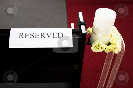Wedding #27 stock photo, Reserved sign on chapel bench by Sean Nel