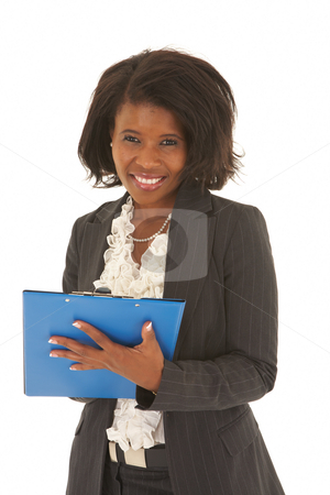 Beautiful African businesswoman stock photo, Beautiful African businesswoman with short hair holding a blue file on white background. Not isolated by Sean Nel