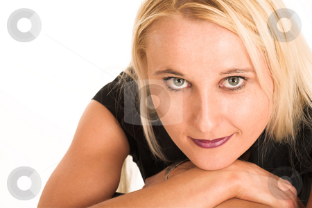 Business Woman #378 stock photo, Blond business woman, dressed in a black clothes. by Sean Nel