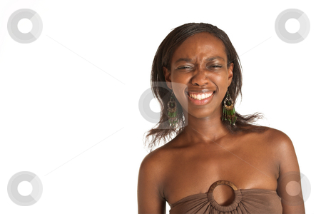 Cynthia Akva #14 stock photo, African business woman dressed in neutral coloured clothes. Lauging with eyes closed.  Copy space by Sean Nel