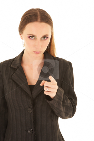Young caucasian businesswoman stock photo, Young adult brunette businesswoman in a black office outfit on a white background. by Sean Nel