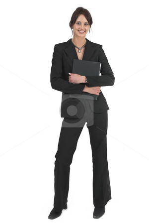 Businesslady #75 stock photo, Dark haired business woman with black file by Sean Nel