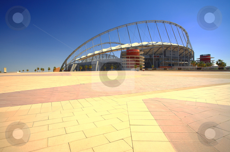 Khalifa sport stadium stock photo, Khalifa (Kalifa) sports stadium in Doha, Qatar where the 2006 Asian games were hosted and location for the proposed 2016 Olympic Games (wide angle lens distortion on edges) HDR type image by Sean Nel