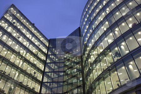 London #46 stock photo, Office block at nighttime. by Sean Nel