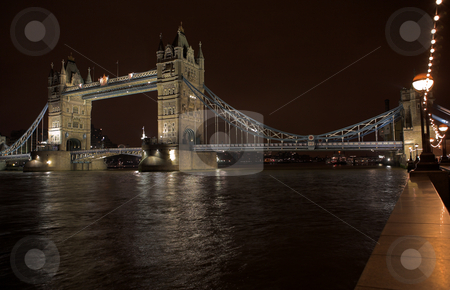 Tower Bridge #1 stock photo, The bascule Tower bridge in London, Night Scene over the Thames by Sean Nel