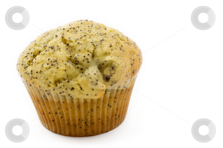 Food #12 stock photo, A single poppyseed muffin on a white background by Sean Nel