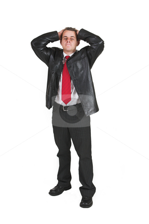 Tollie Booysen #1 stock photo, Businessman in black leather jacket, white shirt and red tie. Standing with hands on his head by Sean Nel