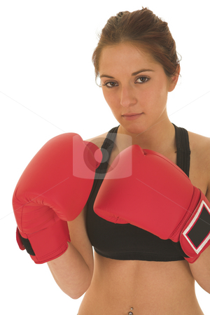 Boxer #03 stock photo, Brunette with red boxing gloves - serious by Sean Nel