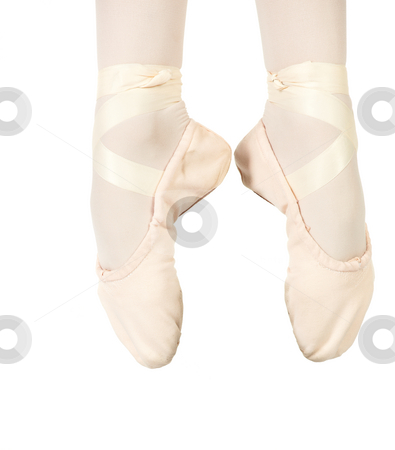 Ballet Feet Positions stock photo, Young female ballet dancer showing various classic ballet feet positions on a white background - Saunte in 1st. NOT ISOLATED by Sean Nel